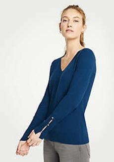 Ann Taylor V-Neck Pearlized Cuff Sweater