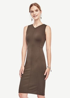 V-Neck Ponte Seamed Sheath Dress