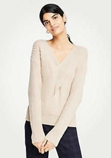 Ann Taylor V-Neck Ribbed Cable Sweater