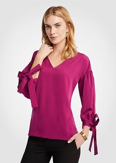 V-Neck Tie Sleeve Blouse