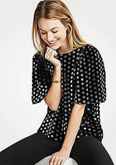 Ann Taylor Velvet Dot Puff Sleeve Top