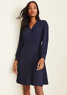 Ann Taylor Velvet Dot Seamed Wrap Dress