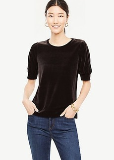 Velvet Puff Sleeve Top