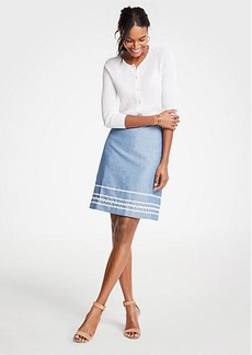 Ann Taylor Wavy Trim Chambray Skirt