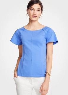 Ann Taylor Wide Neck Flutter Sleeve Top
