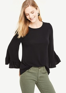 Wide Sleeve Ruffle Cuff Top
