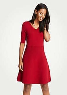 Ann Taylor Wide V-Neck Flare Sweater Dress