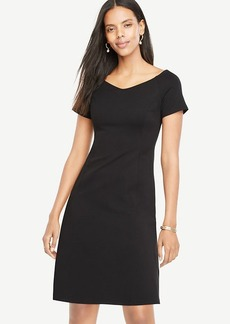 Ann Taylor Wide V-Neck Ponte Flare Dress