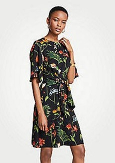 Ann Taylor Wild Botanical Tie Front Flare Dress