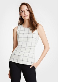 Ann Taylor Windowpane Knit Peplum Shell