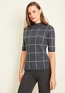 Ann Taylor Windowpane Mock Neck Sweater