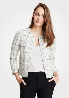 Ann Taylor Windowpane Open Jacket