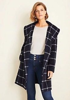 Ann Taylor Windowpane Shawl Collar Wrap Coat