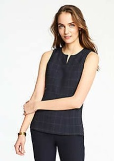 Ann Taylor Windowpane Split Neck Shell