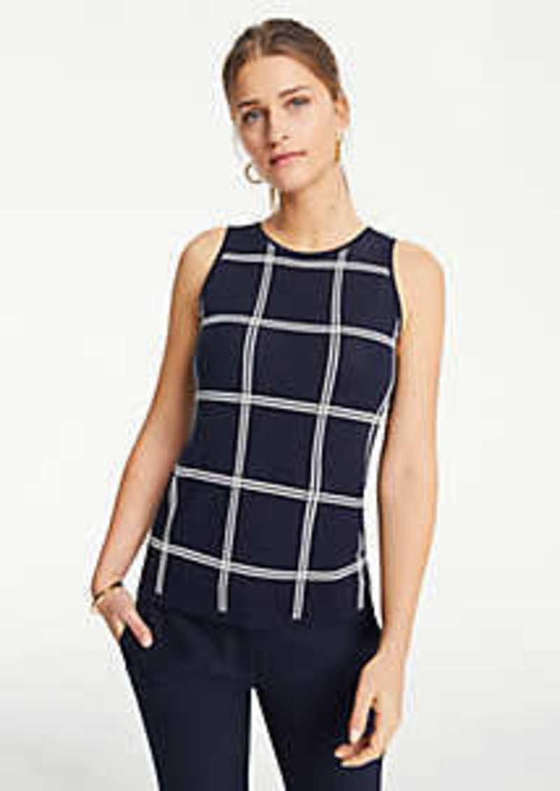 Ann Taylor Windowpane Sweater Shell