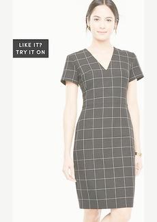 Windowpane V-Neck Sheath Dress