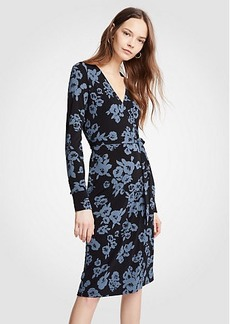 Ann Taylor Winter Floral Button Cuff Wrap Dress