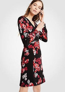 Winter Floral Jacquard Knit Flare Dress