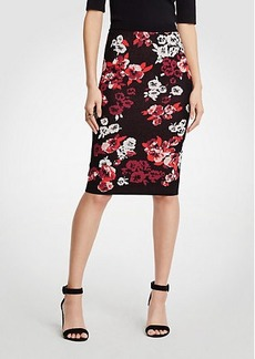 Ann Taylor Winter Floral Jacquard Sweater Pencil Skirt