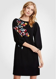 Winter Floral Puff Sleeve Shift Dress
