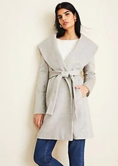 Ann Taylor Herringbone Shawl Collar Wrap Coat