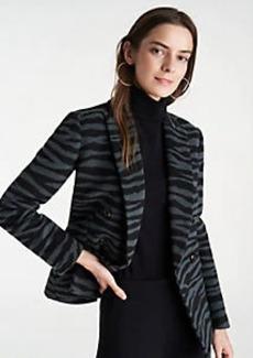 Ann Taylor Zebra Print Long Double Breasted Blazer