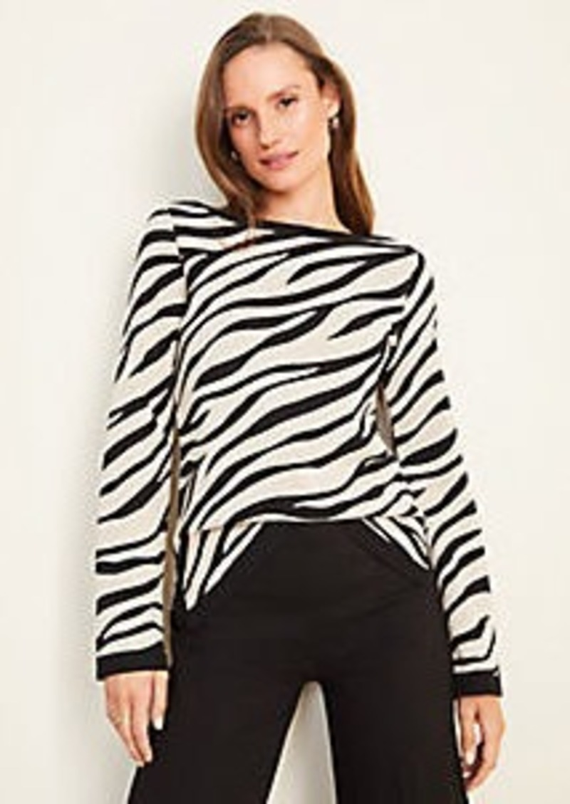 Ann Taylor Zebra Print Seasonless Yarn Boatneck Sweater