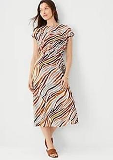 Ann Taylor Zebra Stripe Mock Neck Flare Dress