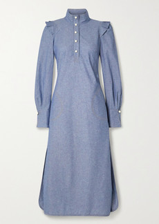 Anna Mason Agnes Ruffled Cotton-chambray Shirt Dress