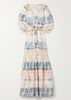 Anna Mason Belted Metallic Tie-dyed Linen Maxi Dress