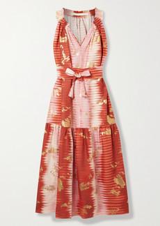 Anna Mason Belted Metallic Tie-dyed Linen Midi Dress