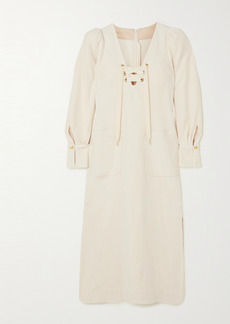 Anna Mason Camille Lace-up Organic Cotton Midi Dress