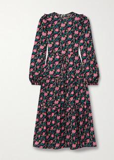 Anna Mason Christy Belted Satin-trimmed Fil Coupe Silk-organza Maxi Dress