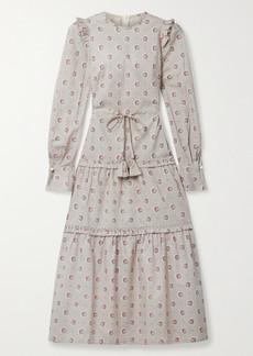 Anna Mason Christy Tie-detailed Ruffled Printed Cotton-poplin Midi Dress