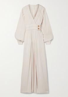 Anna Mason Coco Wrap-effect Cotton-voile Maxi Dress