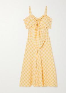 Anna Mason Lily Bow-detailed Cold-shoulder Silk-satin Midi Dress