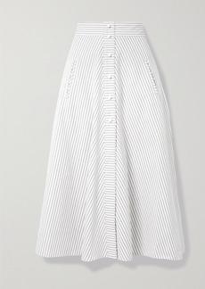 Anna Mason Liv Striped Cotton Midi Skirt