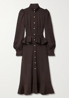 Anna Mason Phoebe Ruffled Wool-jersey Midi Dress