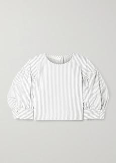 Anna Mason Rose Cropped Striped Cotton Blouse