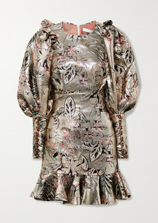 Anna Mason Sylvie Embellished Ruffled Brocade Mini Dress