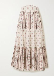 Anna Mason Tati Tiered Floral-print Cotton Midi Skirt