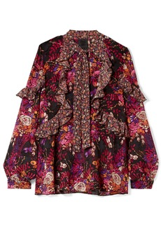 Anna Sui Butterflies And Bells Ruffled Printed Silk-jacquard Blouse