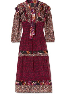Anna Sui Butterflies And Bells Ruffled Printed Silk-jacquard Dress