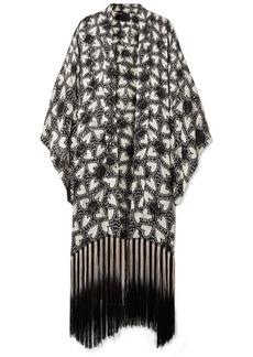 Anna Sui Chasing Hearts fringed metallic fil coupé silk-blend chiffon kimono