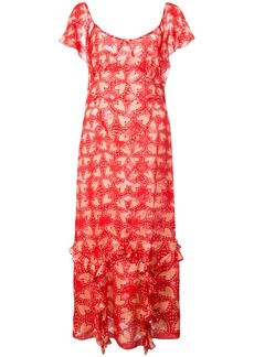 Anna Sui Chasing Hearts metallic jacquard dress - Red