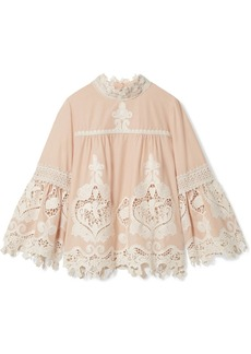 Anna Sui Cupid and Fairy crocheted lace-trimmed cotton-gauze blouse