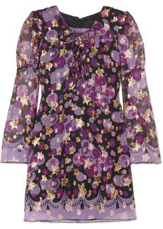 Anna Sui Curtain of Stars metallic fil coupé silk-blend mini dress