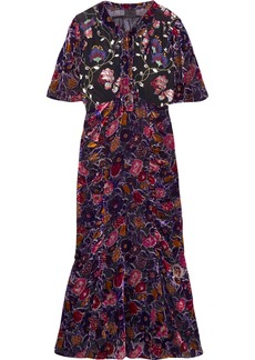 Anna Sui Devoré-chiffon and embroidered tulle midi dress