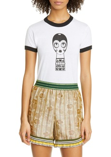Anna Sui Dolly Head Ringer Graphic Tee