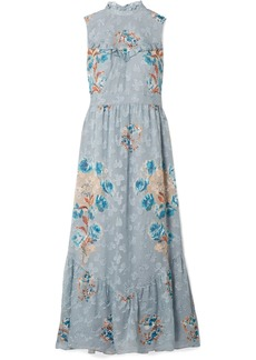 Anna Sui Fil Coupé Silk-blend Midi Dress